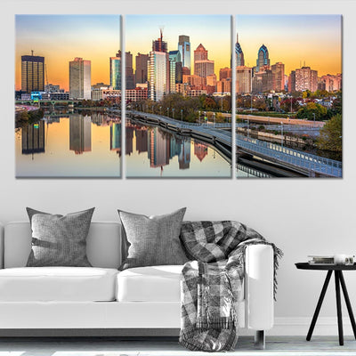 Philadelphia Skyline at sunset 3 piece wall art