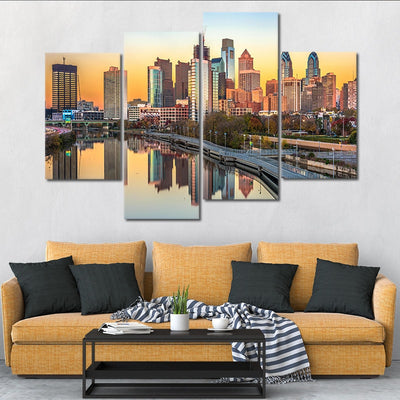 Philadelphia Skyline at sunset wall art set of 4