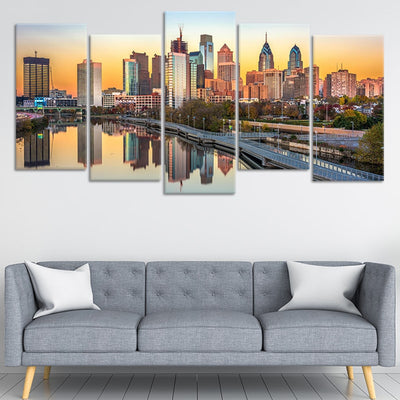 Philadelphia Skyline at sunset 5 piece wall art