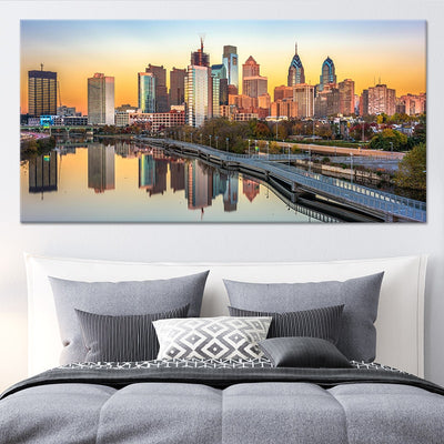 Philadelphia Skyline at sunset canvas wall art large