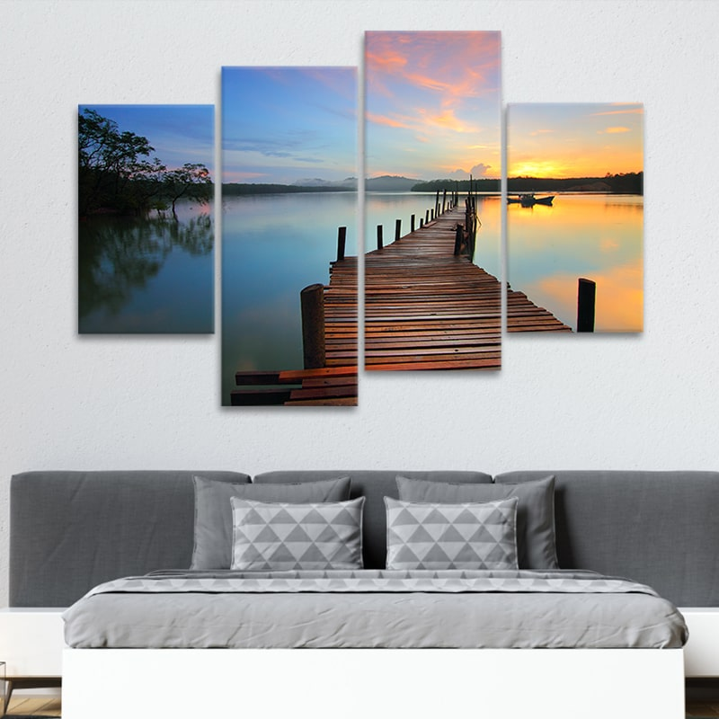 Magnificent Sunset Pier wall art set of 4