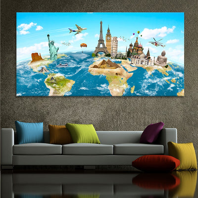 World Map For Kids canvas wall art large