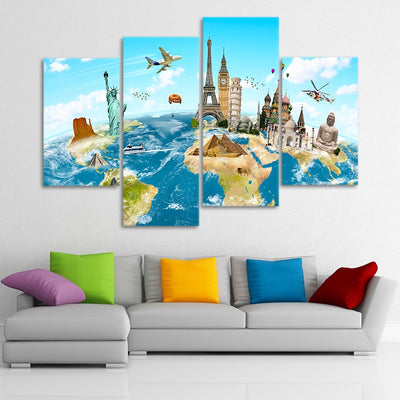 World Map For Kids wall art set of 4