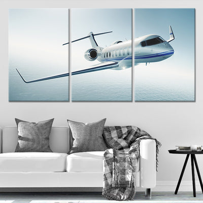 Private Jet 3 piece Multi Panel Canvas Wall Art