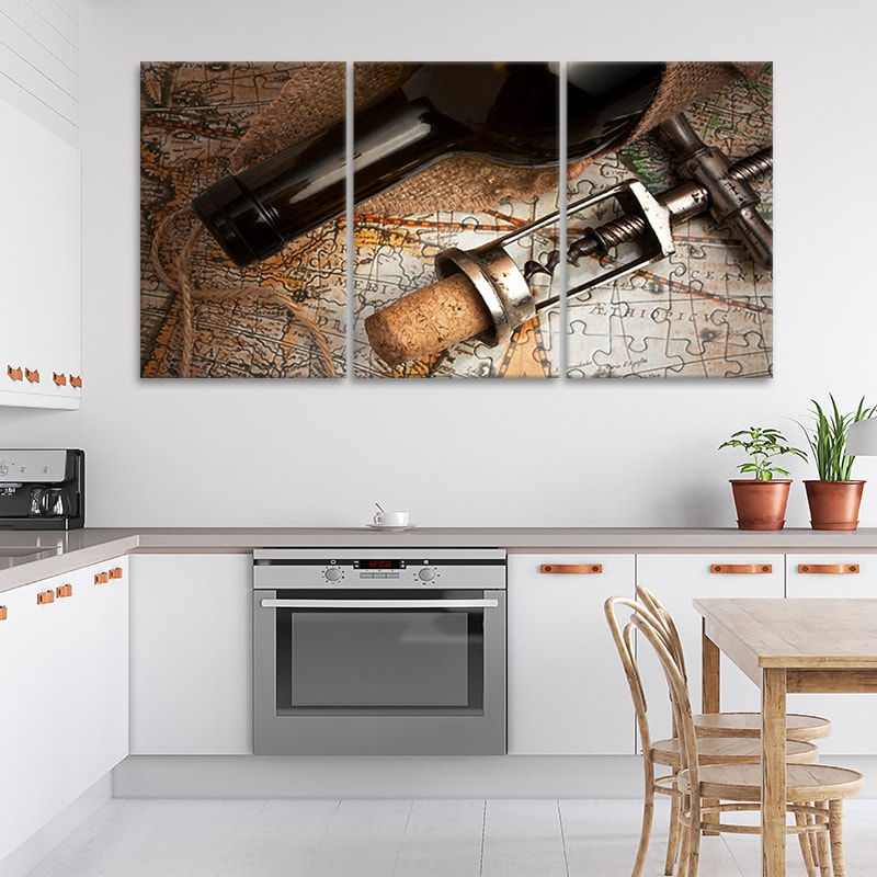 Red Wine & Corkscrew over map multi panel canvas wall art