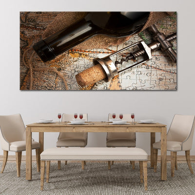 Red Wine & Corkscrew over map canvas wall art