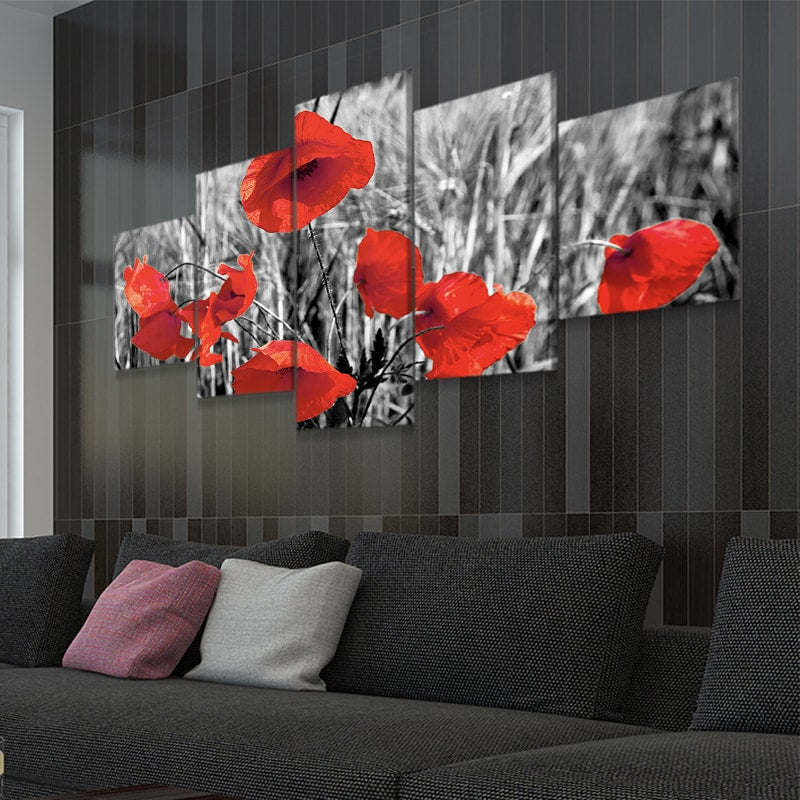 Red Poppy Fields Canvas Wall Art
