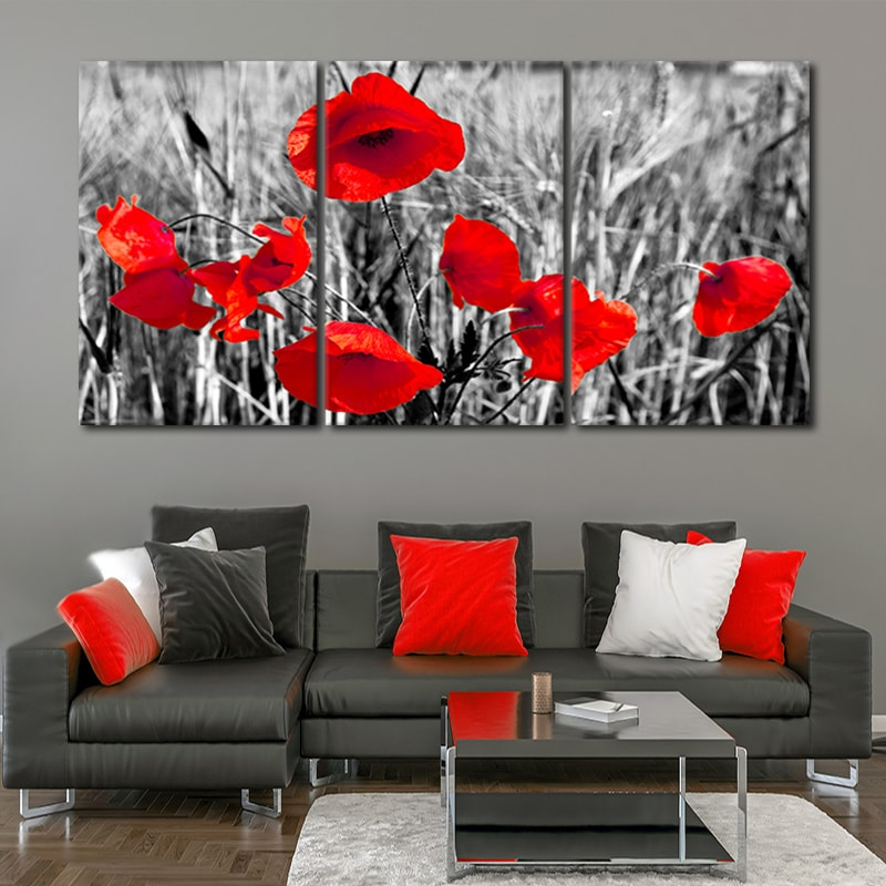 Red Poppies Abstract Flowers Floral SINGLE CANVAS WALL ART Picture Print