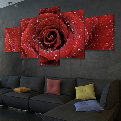 Red Rose Close Up Multi Panel Canvas Wall Art