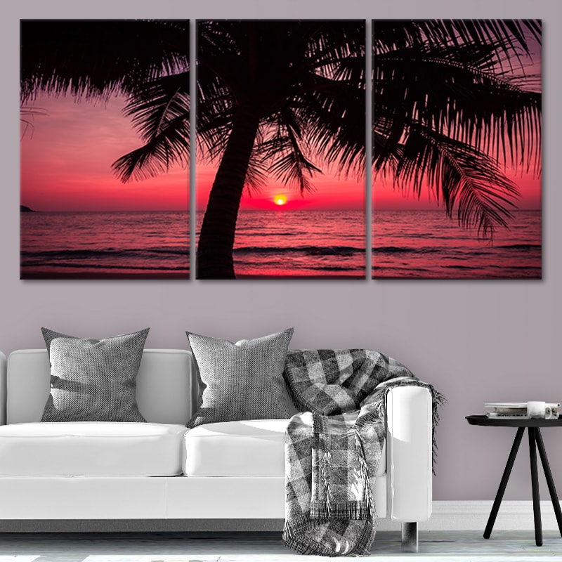Red Sunset Above Palm Trees Canvas Wall Art