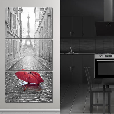 The Red Umbrella 3 piece wall art