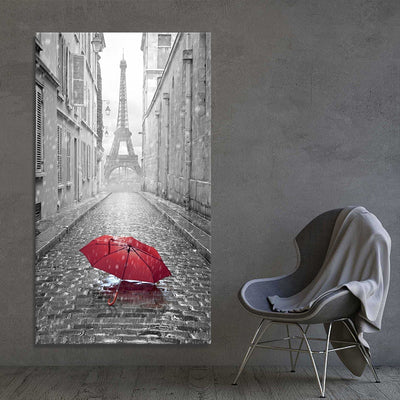The Red Umbrella canvas wall art large