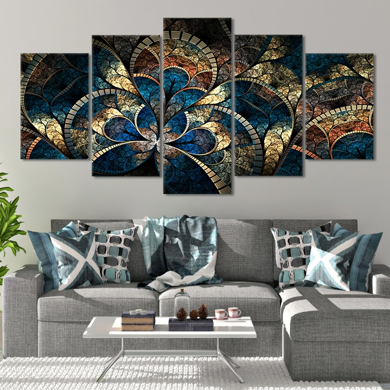 Relaxing Fractal Flower Canvas Wall Art