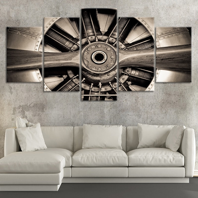 Retro Engine Multi Panel Canvas Wall Art