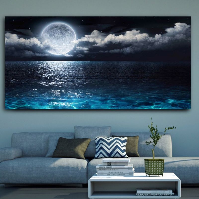 Moonlit Beach Multi Panel Canvas Wall Art