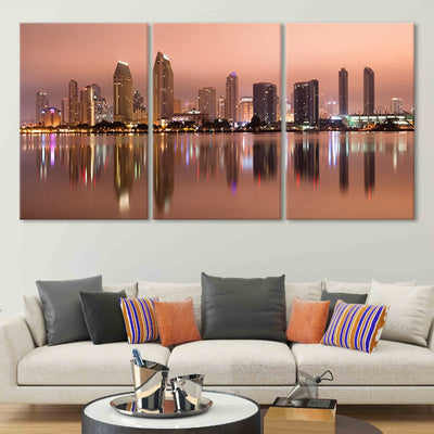 San Diego Skyline at Dusk wall canvas