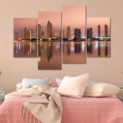 San Diego Skyline at Dusk canvas set