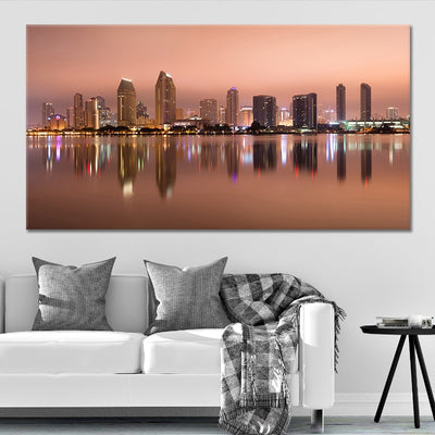 San Diego Skyline at Dusk large wall art