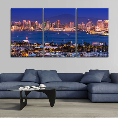 San Diego Skyline Multi Panel Canvas Wall Art