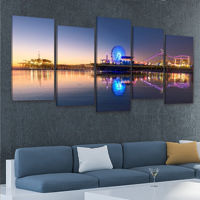 Santa Monica Pier at night 5 piece wall art