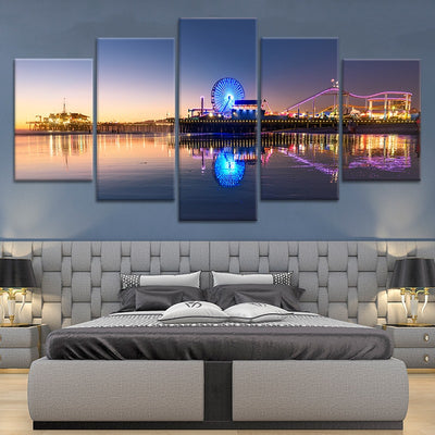 santa monica pier at night 5 piece canvas art