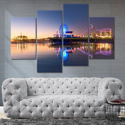 santa monica pier at night wall art set of 4