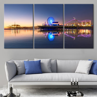 santa monica pier at night 3 piece wall art