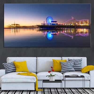 santa monica pier at night canvas wall art large
