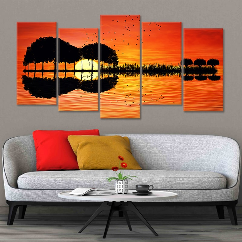 Scenic Guitar Sunset Multi Panel Canvas Wall Art