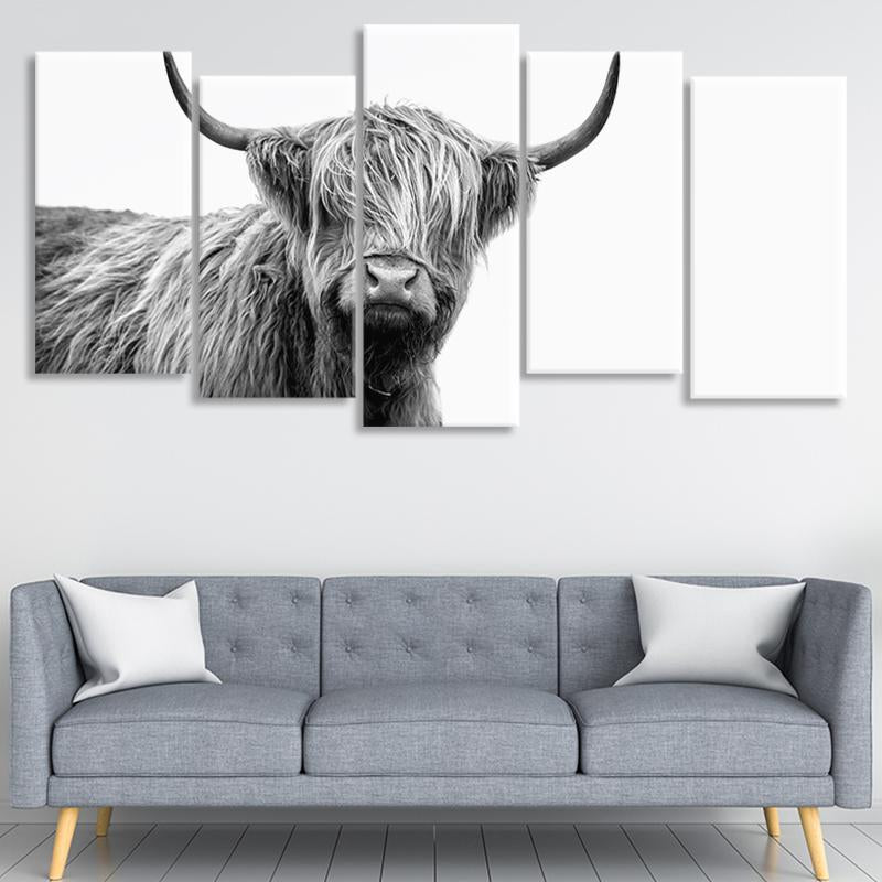 Scottish Highland Cow 3 piece wall art