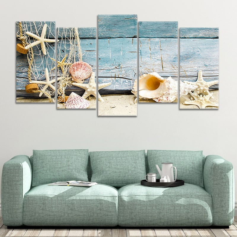seashell decorations for bathroom 5 piece canvas art