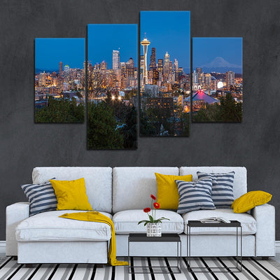Seattle Skyline multi panel canvas wall art