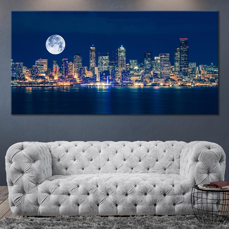 Seattle Skyline With Full Moon Canvas Wall Art