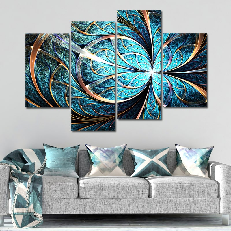 Shiny Blue Fractal Flower Multi Panel Canvas Wall Art