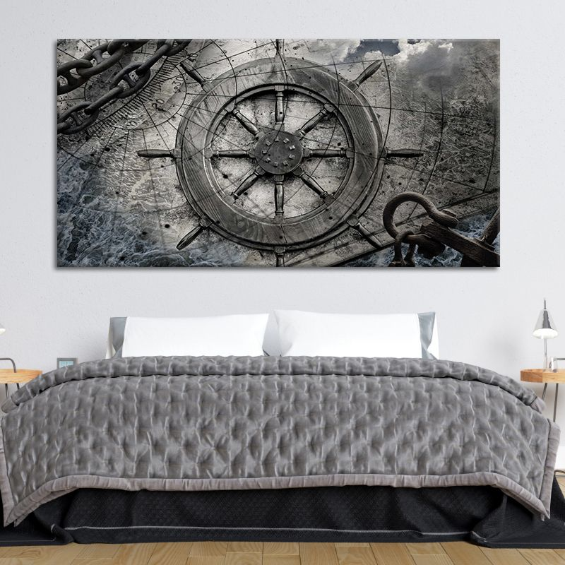 Vintage Ship Steering Wheel Old Map wall art set of 4