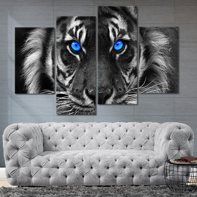 blue eyed white tiger wall art set of 4