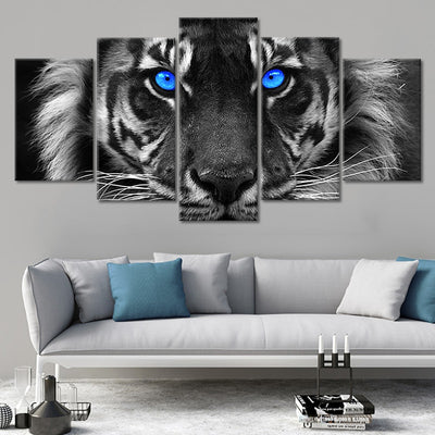 blue eyed white tiger 5 piece wall art