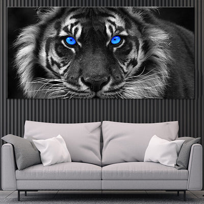blue eyed white tiger canvas wall art large