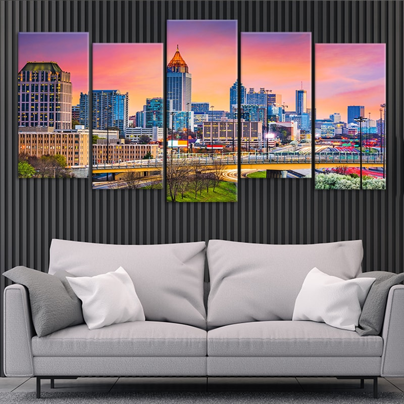 Skyline Of Atlanta 5 piece wall art