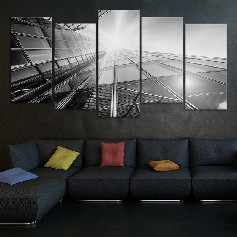 Black and White Skyscraper Building View Canvas Wall Art