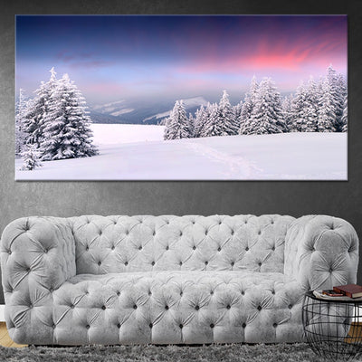 Snowy Pine Forest Multi Panel Canvas Wall Art