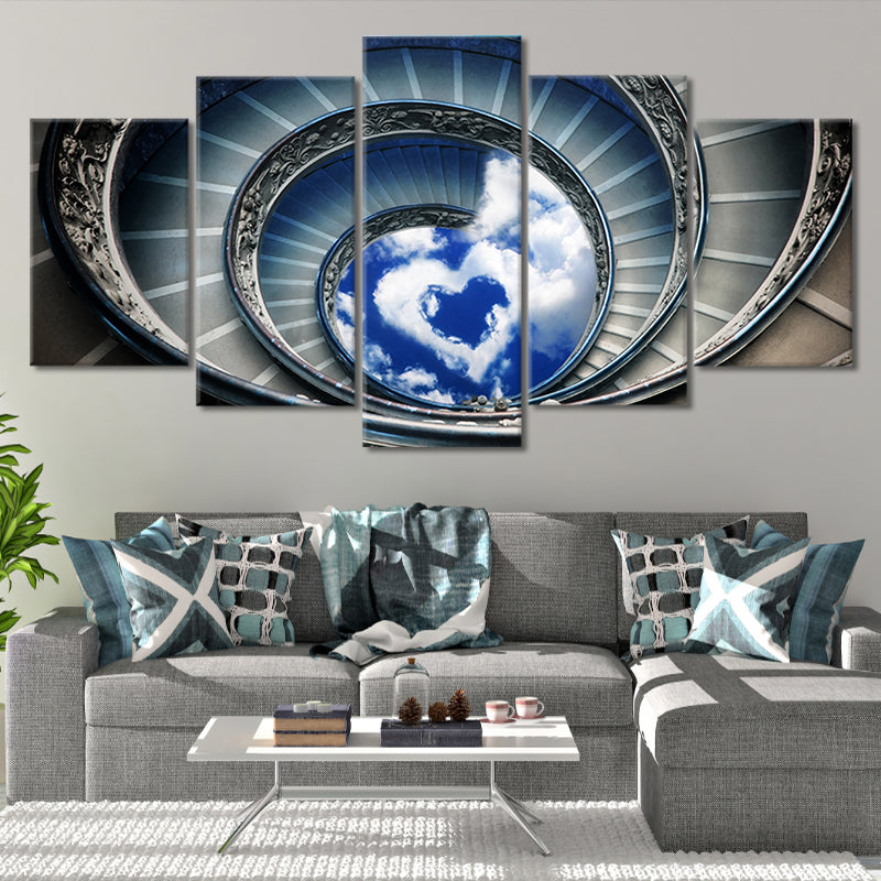 Spiral Staircase To Love Canvas Wall Art