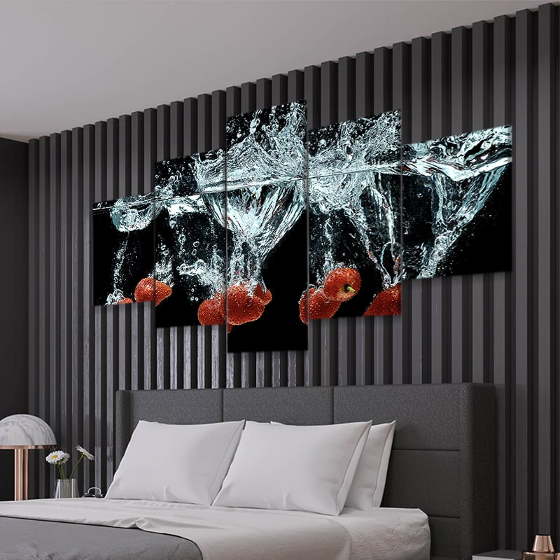 Strawberries Splash Multi Panel Canvas Wall Art