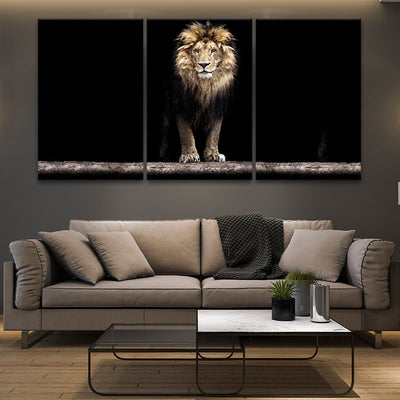 lion canvas black and white