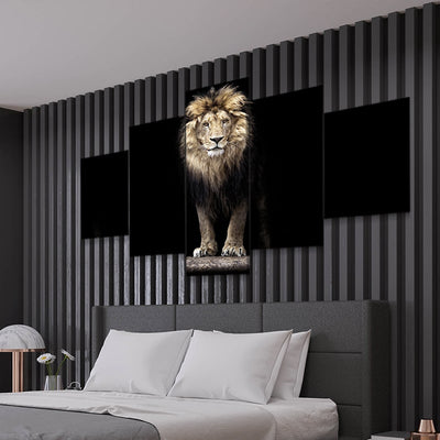 Golden Lion 5 piece canvas art