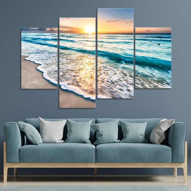 Sunrise Over Cancun Beach Canvas Wall Art