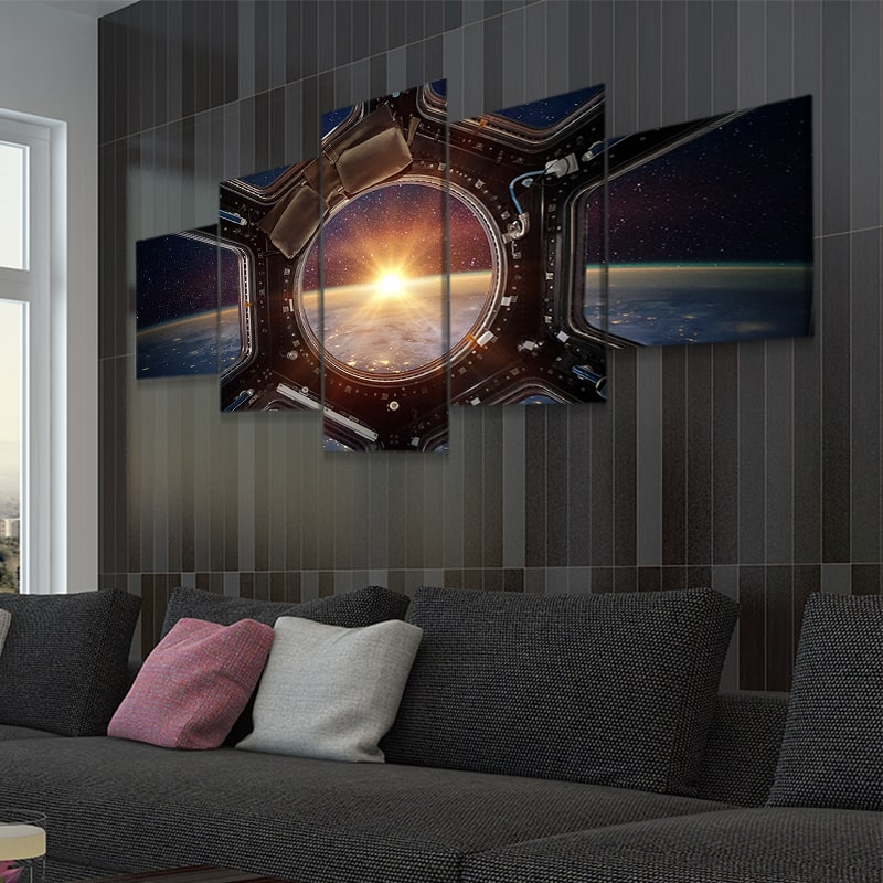Sunrise View From ISS 5 Panel Canvas Wall Art
