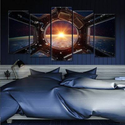 Sunrise View From ISS 3 piece Canvas painting