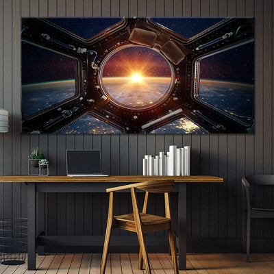 Sunrise View From ISS Multi Panel Canvas Wall Art