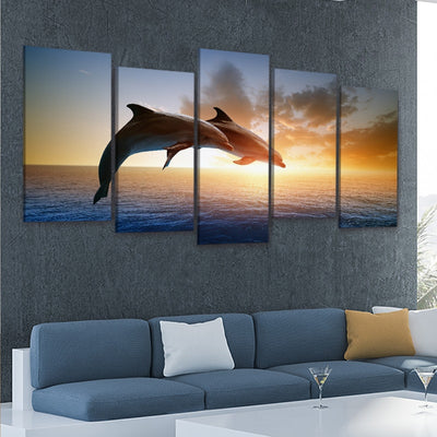 Two Jumping Dolphins At Sunset Multi Panel Canvas Wall Art